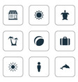 set of simple seaside icons vector image vector image