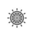 ship steering wheel rudder helm grey icon vector image