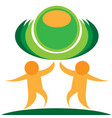 stylized orange people with green planet isolated vector image