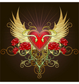 The heart with snakes vector image vector image