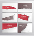 torn paper cards realistic set vector image