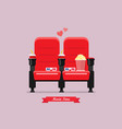 two cinema seats with popcorn drinks and glasses vector image vector image