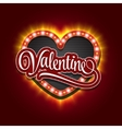 Valentines Heart Neon Lights Frame for Romantic vector image vector image