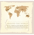 Vintage world map airplanes vector image