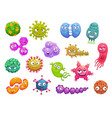 virus bacteria germ microbe cartoon characters vector image vector image
