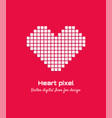 white pixel love heart icon logo design vector image vector image