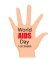 Worlds Aids day Hand with the words Stop vector image vector image