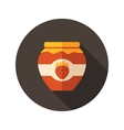 Strawberry jam jar flat icon with long shadow vector image