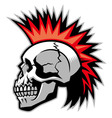 skull with mohawk hairstyle vector image