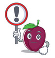 with sign plum character cartoon style vector image