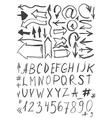 symbols letters arrows numerals black ink spots on vector image
