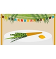 a Sukkah decorated with vector image vector image