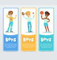active boys playing different sports boys banners vector image
