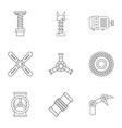 auto parts icon set outline style vector image vector image
