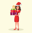 beautiful woman dressed in a christmas hat vector image vector image