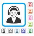 call center operator framed joyful icon vector image vector image