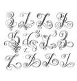 calligraphy lettering script font z set hand vector image