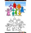 cartoon aliens or fantasy characters coloring vector image vector image