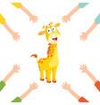 cartoon hands with giraffe