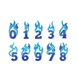 cartoon icons set of blue Flaming Numbers vector image