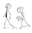 cartoon of boss manager walking with female vector image