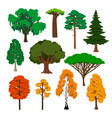 cartoon trees icons set vector image vector image