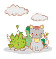 cat animal with bushes leaves and clouds vector image vector image