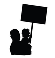 child with dad and board silhouette vector image vector image
