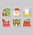 christmas new year icon sticker set isolated vector image vector image