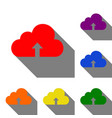 cloud technology sign set of red orange yellow vector image vector image