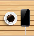 coffee cup and smartphone on wooden table top vector image vector image
