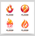 collection fire flame logo design graphic vector image vector image