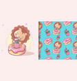 cute lion with cake and pattern set vector image vector image