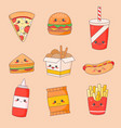 fast food junk kawaii cute face set hamburger vector image