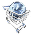 globe shopping cart concept vector image
