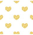Golden glitter hearts sparkles seamless pattern vector image