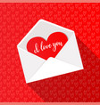 greeting card with red heart in open white vector image vector image