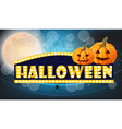 halloween lights card with full moon and pumpkins vector image