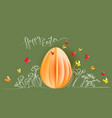 hand drawn flowers with paper egg butterfly vector image vector image