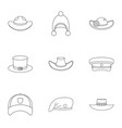 hat icon set outline style vector image vector image