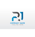 initial pj letter logo with creative modern vector image vector image