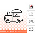 kids train toy simple black line icon vector image