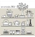 Kitchen utensils on shelves 2 vector image vector image