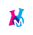 m letter lab laboratory glassware beaker logo icon