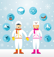 Man and Woman in Snowsuit with Icons Set vector image vector image