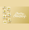 merry christmas golden greeting card gold vector image vector image