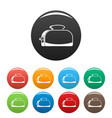 metal toaster icons set color vector image vector image