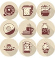 Morning breakfast brown icons set vector image