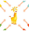 of cartoon hands with giraffe vector image vector image