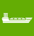 oil tanker ship icon green vector image vector image